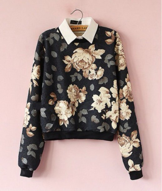 sweater black floral fashion style trendy fall outfits long sleeves cute girly winter sweater