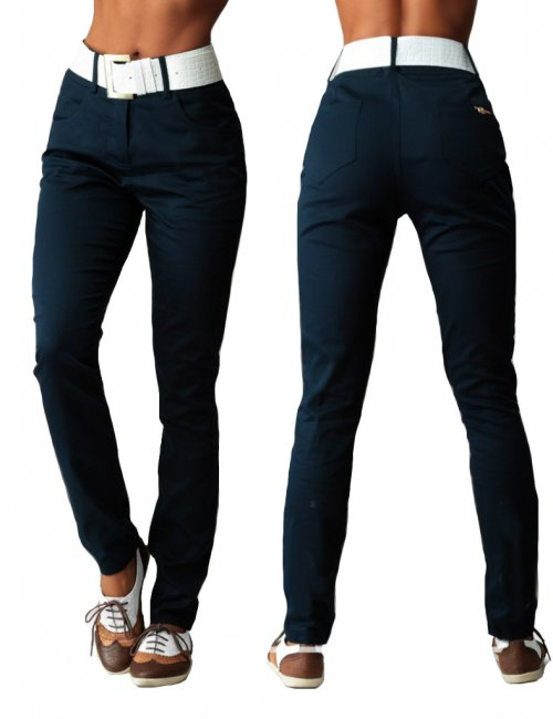 Women's Cotton Smart Casual Style Belted High Waisted Skinny Pants
