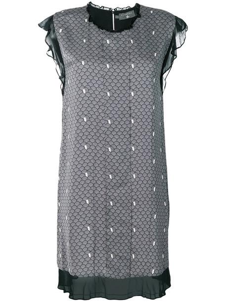 dress print dress women print silk grey
