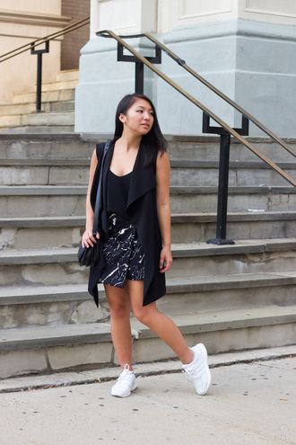 looks by lau blogger jacket skirt top bag shoes sleeveless black top mini dress white sneakers shoulder bag