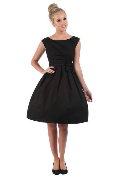 Buy 				LINDY BOP  LUCILLE CLASSY BLACK 1950'S VINTAGE STYLE PLEATED ROCKABILLY PARTY DRESS. 									at 												 Campbell/Crafts Vintage