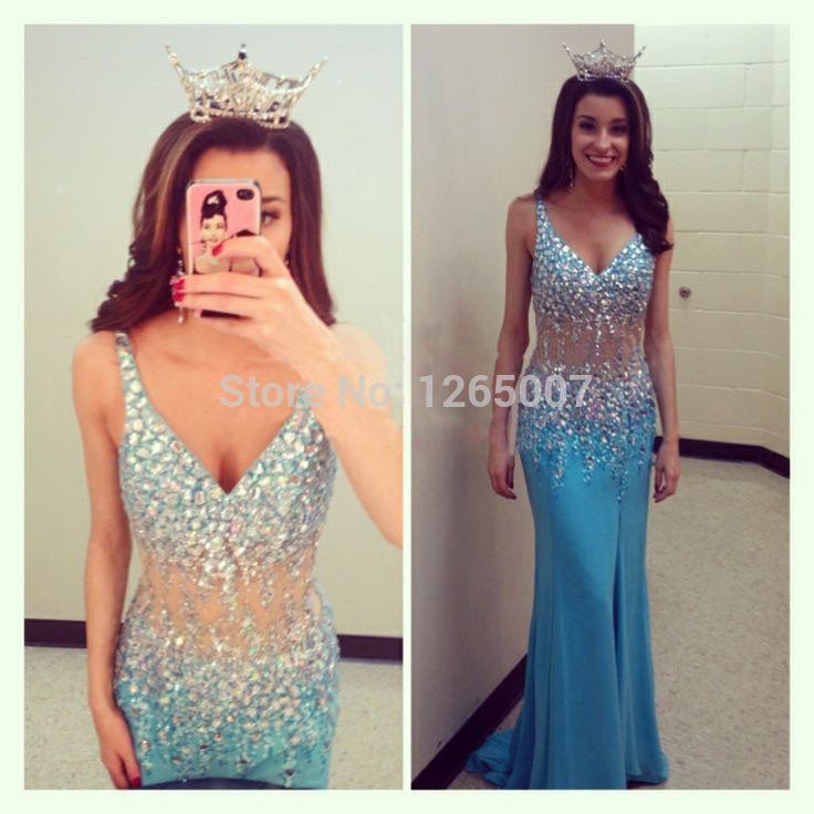 Stunning crystal blue long satin prom dresses,evening gowns,graduation dresses · dressprom20141 · online store powered by storenvy