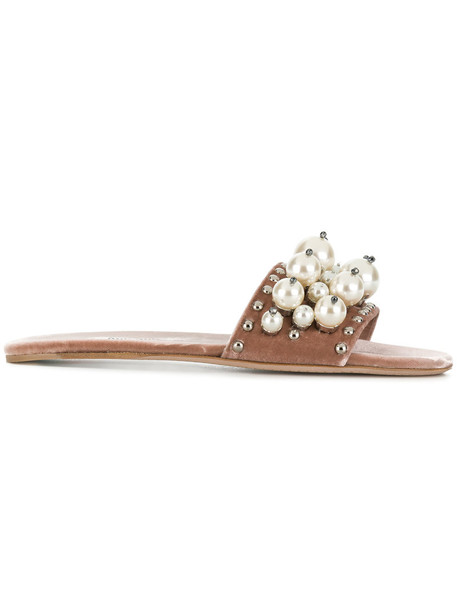 Miu Miu velvet sandals women pearl embellished sandals leather velvet purple pink shoes