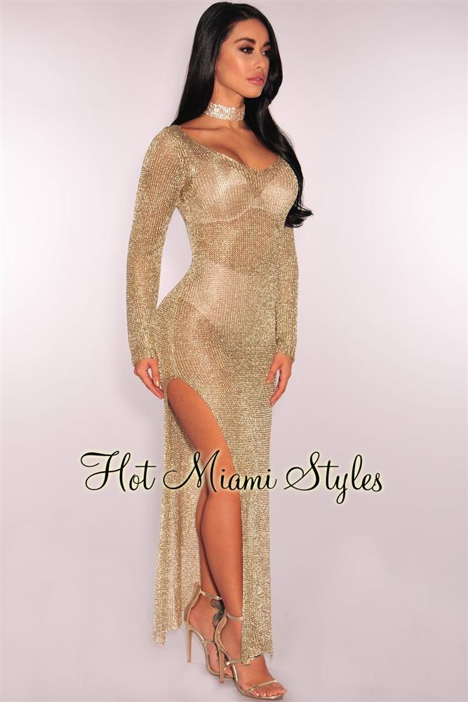 Gold Metallic Sheer Net Slit Long Sleeves Maxi Dress