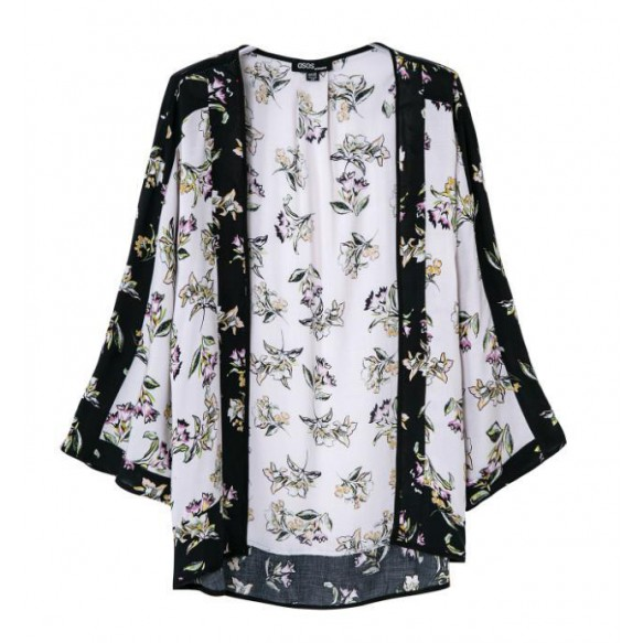 Floral Kimono Cardi With Contrast Panels at Style Moi