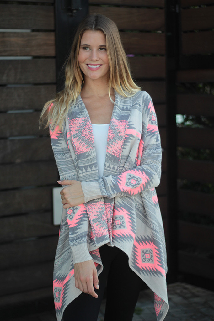 Neon Aztec Sweater Cardigan