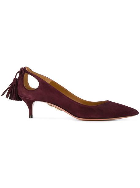 Aquazzura women forever pumps leather suede purple pink shoes