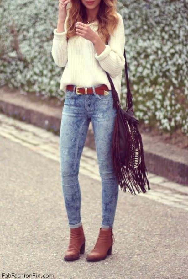 fall outfits fall sweater outfit white sweater sweater pullover bag jeans shoes fringed bag beige oversized sweater winter style jumper