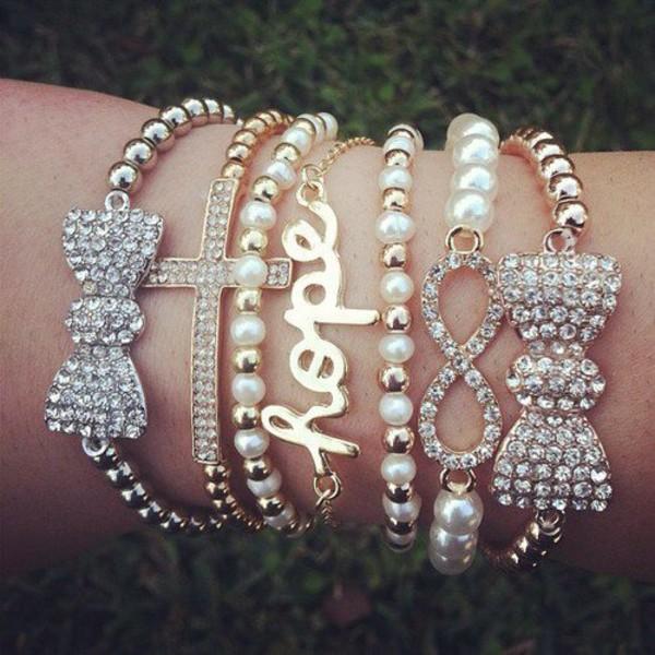 jewels infinity set bracelets stacked bracelets jewelry bracelets gold silver bow bows bow bracelet