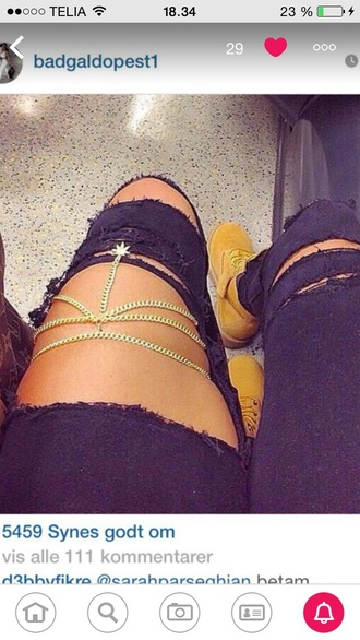 jewels marijuana mary jane chain legs exposed legs jeans gold chain