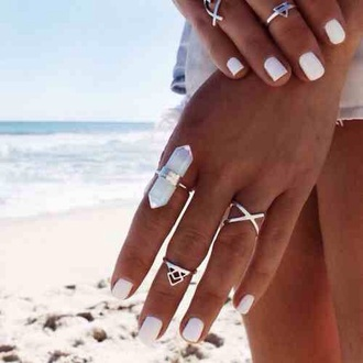 jewels ring white precious gem stone gemstone crystal beach summer boho bohemian free healing powers summer beauty summer accessories gemstone ring jewelry boho jewelry boho chic silver silver ring