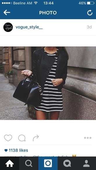 jacket leather leather jacket black black jacket black leather jacket dress stripes black and white bag black bag leather bag black leather bag outfit style cool dress stripes black and white dress black and white stripes