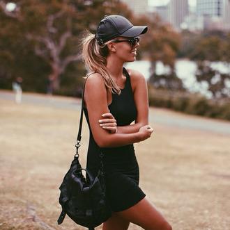 dress little black dress beach slim tall cap black dress black bag black hat all black dress all black everything hat summer