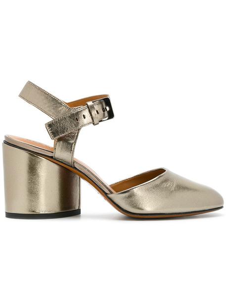 Robert Clergerie heel women sandals leather grey metallic shoes