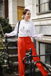 jumper,print,wide-leg pants,crossbody bag,high waisted pants