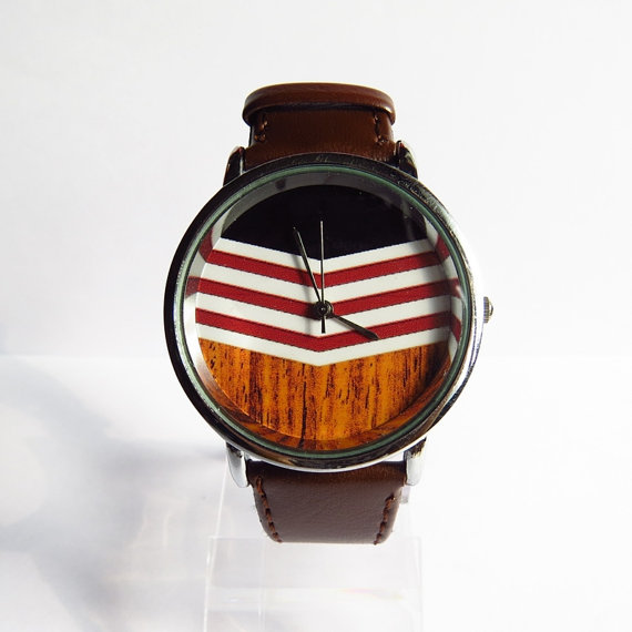 Chevron on Wood Watch, Vintage Style Leather Watch, Women Watches, Mens Watch, Unisex Watch, Boyfriend Watch, Silver Case ,