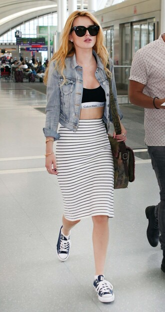 skirt pencil skirt bella thorne stripes striped skirt sneakers jacket denim jacket top bra bag