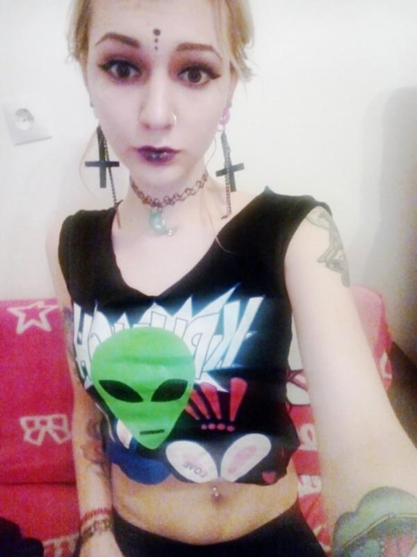top alien alien alien face alien tshirt cross satan purple green red white black crop tops cropped choker necklace choker necklace moon moon necklace comics weird grunge grunge jewelry grunge t-shirt grunge top pastel goth goth gothic lolita jewels