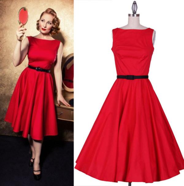 red dress Pin up audrey hepburn hepburn swing dress rockabilly 50s style bridesmaid evening dres rockabilly dress 50s style dress