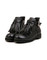 Platform fringe boots black leather chunky shoes fall winter blogger