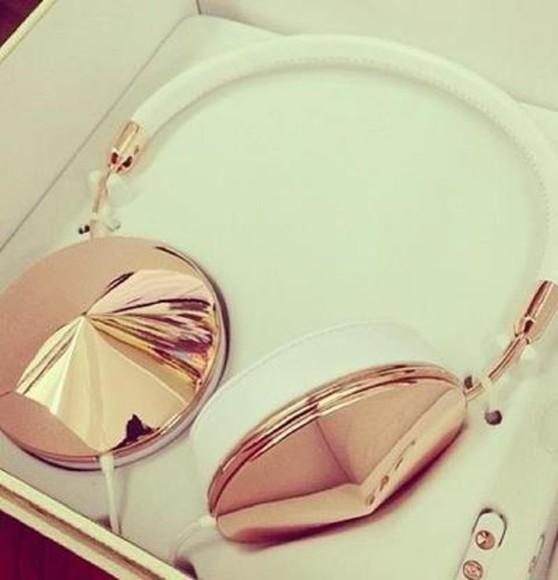 rose earphones jewels headphones gold white
