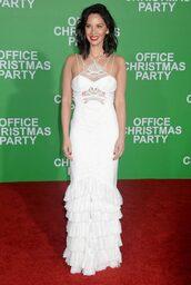 dress,wedding dress,white dress,white,olivia munn,gown,prom dress
