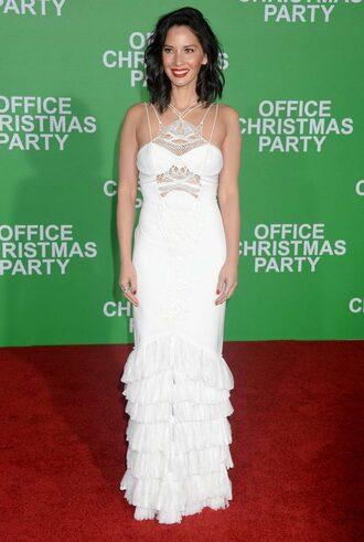 dress wedding dress white dress white olivia munn gown prom dress