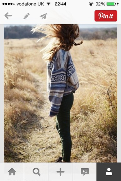 topshop sweater aztec sweater blue cream baggy sweater newlook urban outfitters riverisland shoes