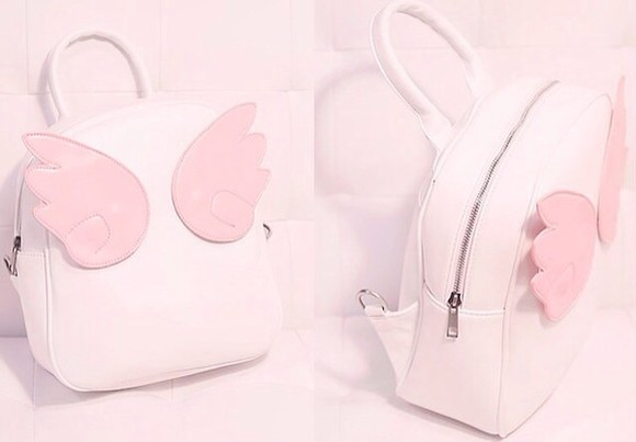 cute pink bag backpack pastel sweet pastel pink petite adorable kawaii soft kawaii princess soft grunge lolita sweet lolita knapsack bookbag light pink lolita fashion sweetheart wings angel wings angel angels wings
