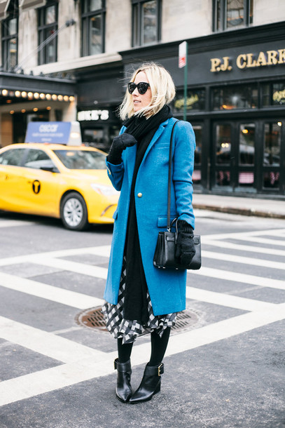 damsel in dior blogger skirt gingham blue coat gloves knitted gloves coat sunglasses black sunglasses scarf knitted scarf bag black bag midi skirt tights opaque tights boots pointed boots black boots ankle boots