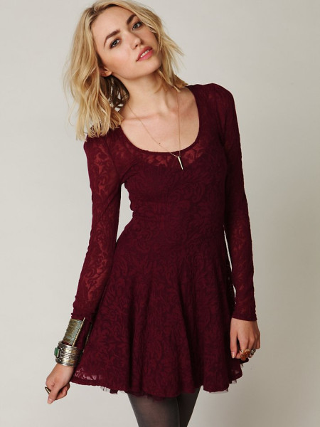 Free People Floral Floral Lace Fit and Flare Dress