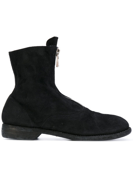 Guidi women boots leather suede black shoes