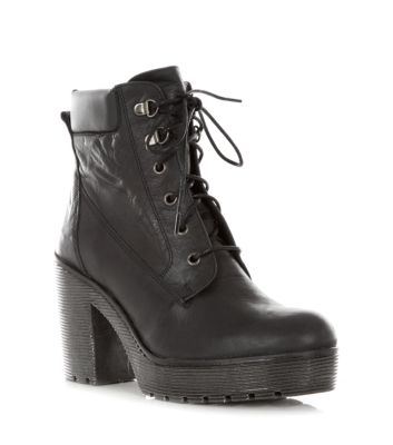 Limited Black Chunky Leather Lace Up Boots