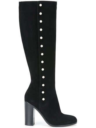 studded high knee high boots knee high boots black shoes
