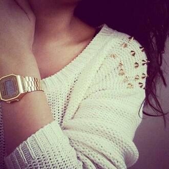 sweater white watch