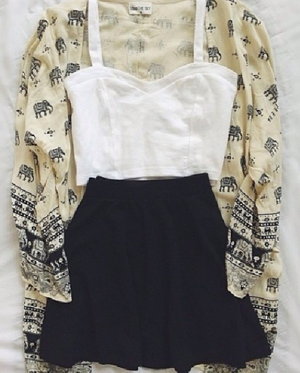 whiteeee skirt cardigan
