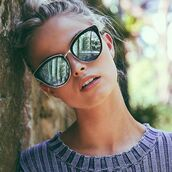 sunglasses,quay,mirrored sunglasses,nude lipstick,silver sunglasses