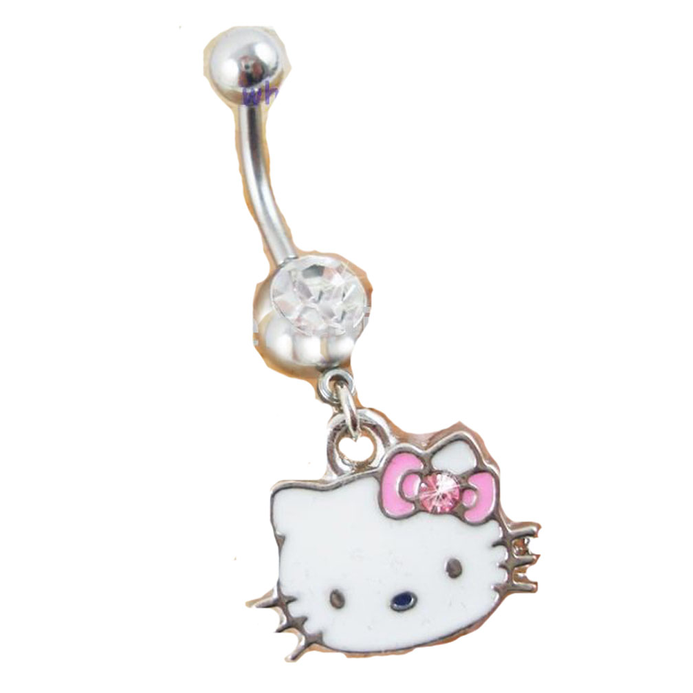 Hello Kitty 316 Surgical Steel Belly Navel Ring Dangle | eBay