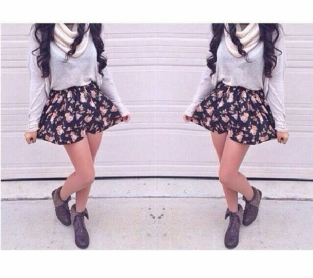 shorts floral sweater skirt shoes scarf