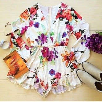 jumpsuit white floral giry summer white jumpsuit