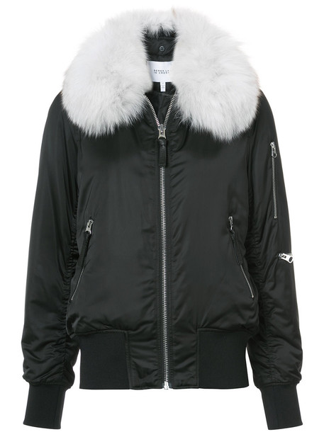 DEREK LAM 10 CROSBY jacket bomber jacket fur fox women spandex black