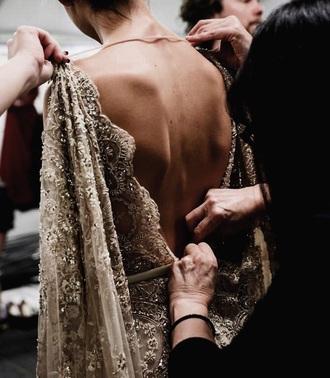 dress nude dress gown prom dress backless dress cream dress