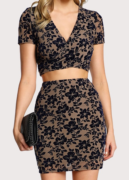 dress girly two-piece two piece dress set crop tops crop cropped skirt floral embroidered