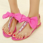 Romantic Summer Rhinestone Decorated Bow-Knot Decorated T-Strap Flats Shoes, Yellow, Beige, Rose, L17901