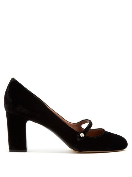 tabitha simmons pumps velvet black shoes
