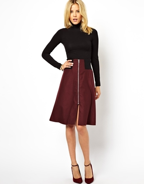 ASOS | ASOS Midi Skirt with Rib Waist and Zip Detail at ASOS