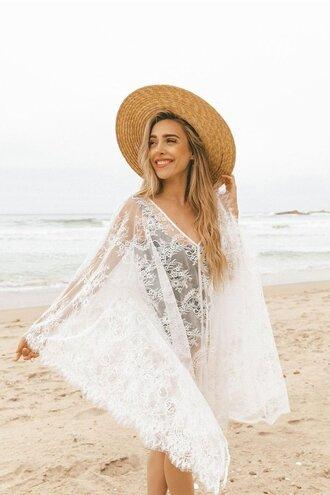 dress one size eyelash lace scalloped sleeves french seams nudwear bikiniluxe