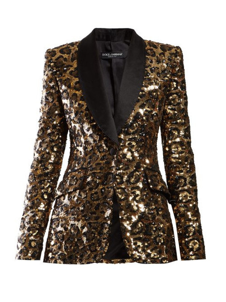Dolce & Gabbana - Single Breasted Leopard Print Sequinned Blazer - Womens - Leopard