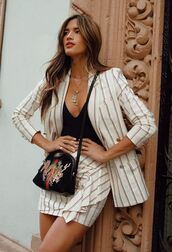 skirt,jacket,top,two-piece,stripes,rocky barnes,instagram,blogger,spring outfits,mini skirt