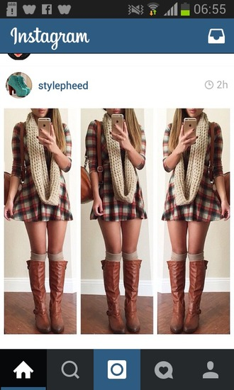 dress flannel tartan scarf wollen boots over knee high boots knee high socks